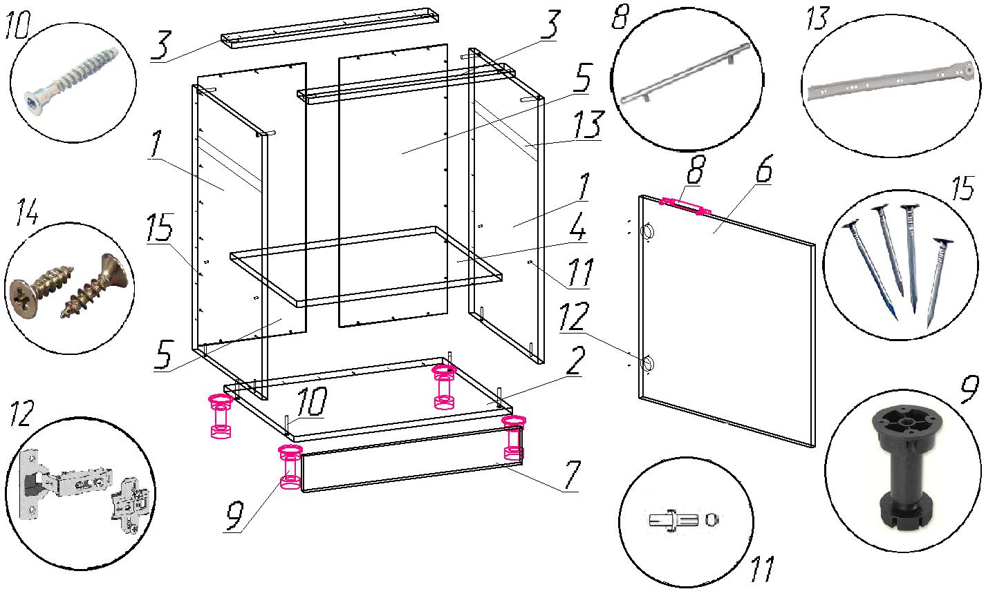 Угловой кухонный шкаф своими руками: чертежи, этапы на 88