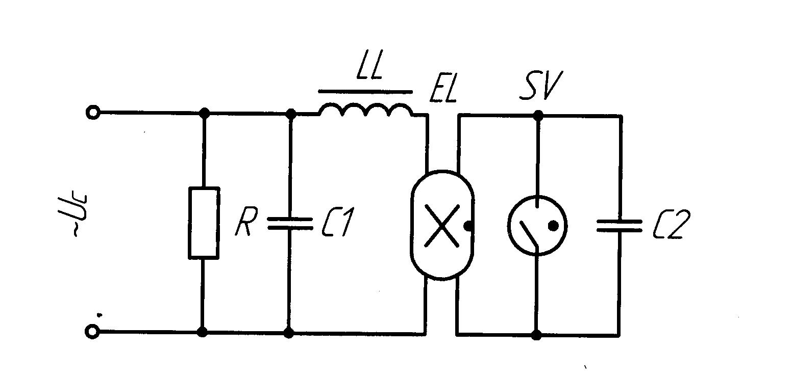 Электросхема схема для лампы дневного света на диодах и конденсаторах