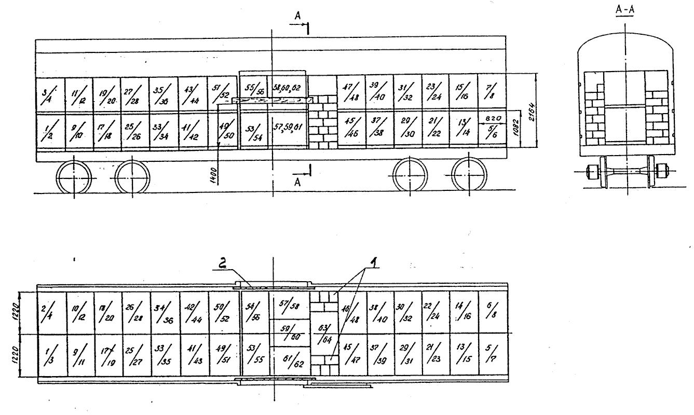 Схема размещения контейнеров в вагоне
