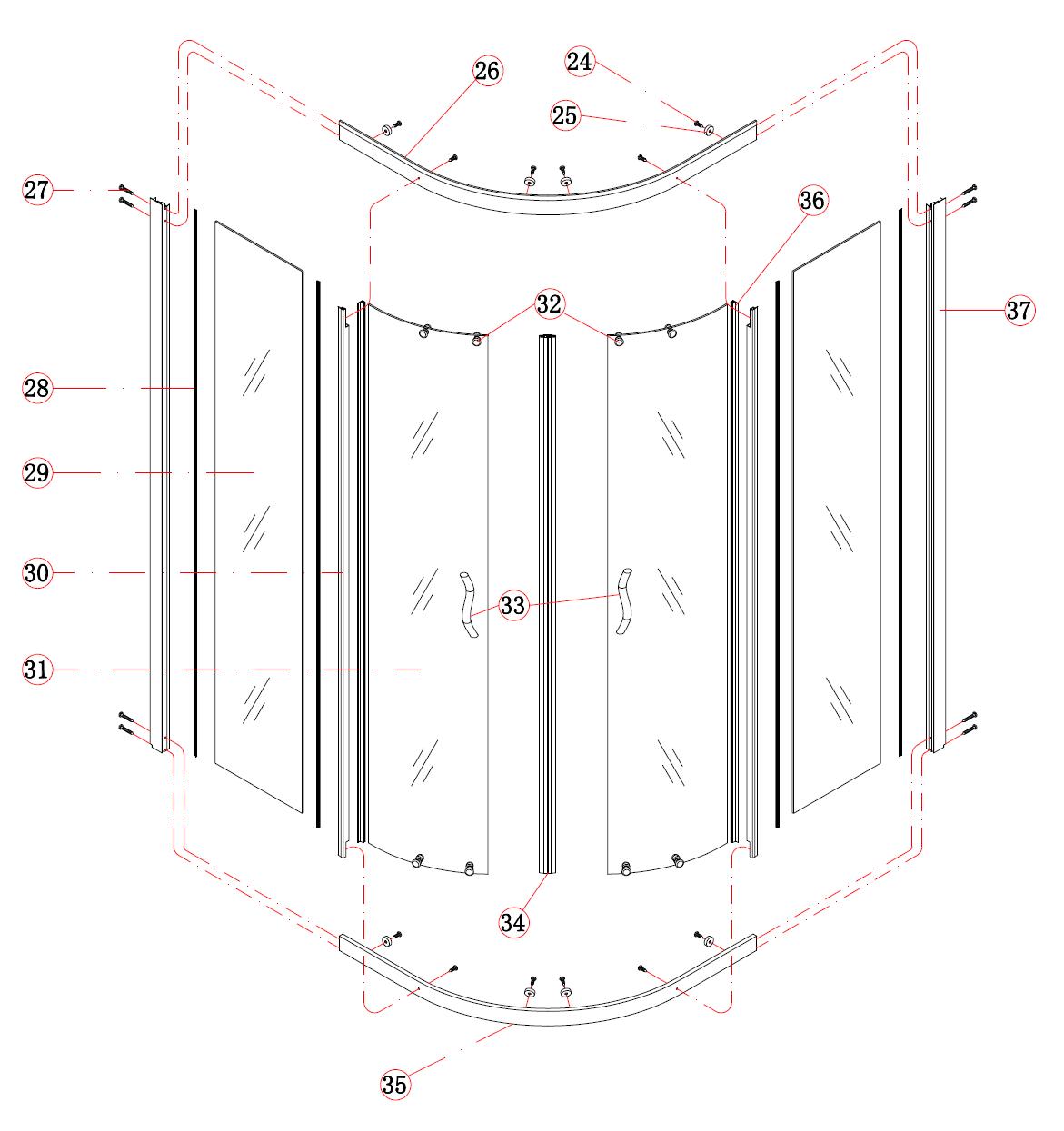 Схема сбора душевой кабины